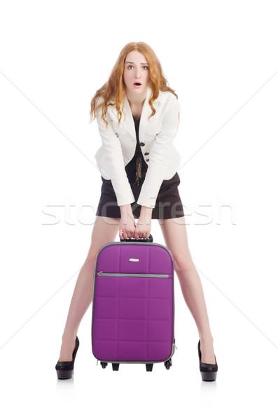 Utazás turizmus izolált fehér üzlet lány Stock fotó © Elnur