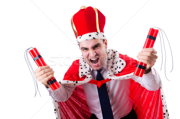 King with dynamite sticks isolated on the white Stock photo © Elnur