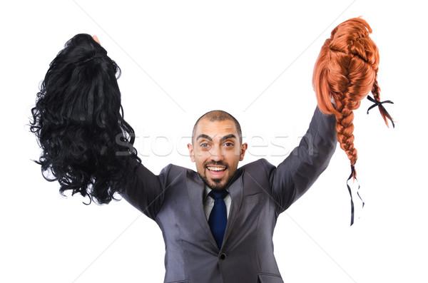 Funny biznesmen kobiet peruka odizolowany biały Zdjęcia stock © Elnur