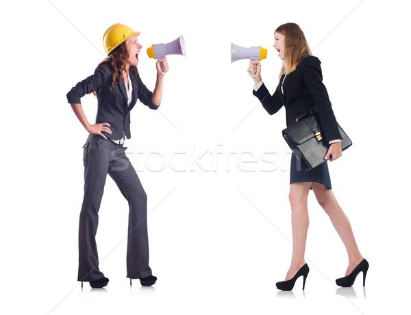 üzletasszony hangfal táska izolált fehér lány Stock fotó © Elnur