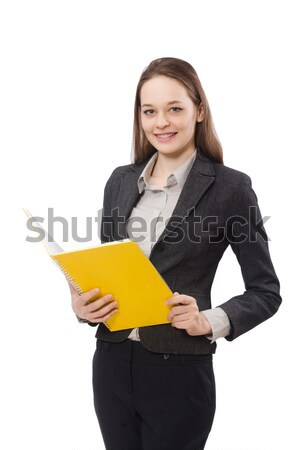 Working lady with paper isolated on white Stock photo © Elnur