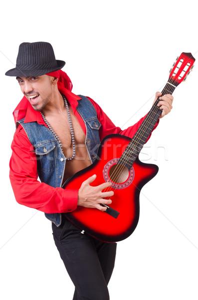 Mannelijke gitarist geïsoleerd witte partij metaal Stockfoto © Elnur