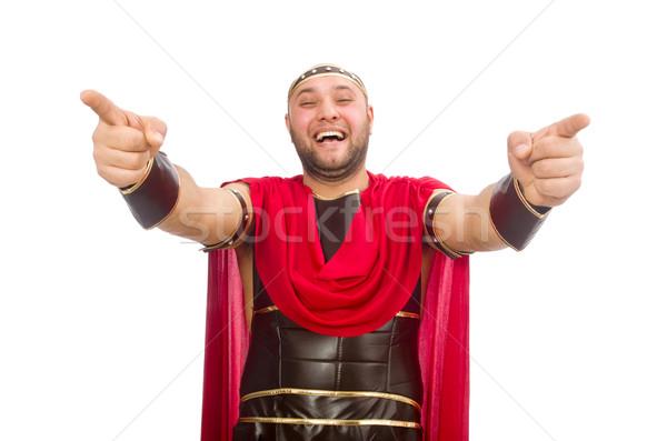 ストックフォト: 剣闘士 · 孤立した · 白 · 男 · 赤 · 筋