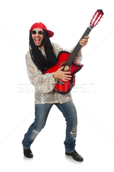 Mężczyzna muzyk gitara odizolowany biały szczęśliwy Zdjęcia stock © Elnur