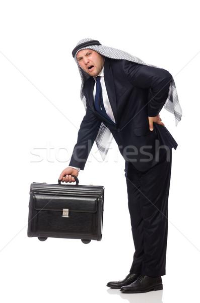 Emiraty człowiek bagażu biały tle biznesmen Zdjęcia stock © Elnur