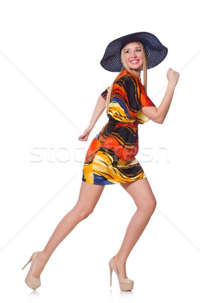 Stock fotó: Csinos · fiatal · nő · rövid · ruha · izolált · fehér
