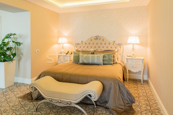 Quarto de hotel moderno interior casa projeto viajar Foto stock © Elnur