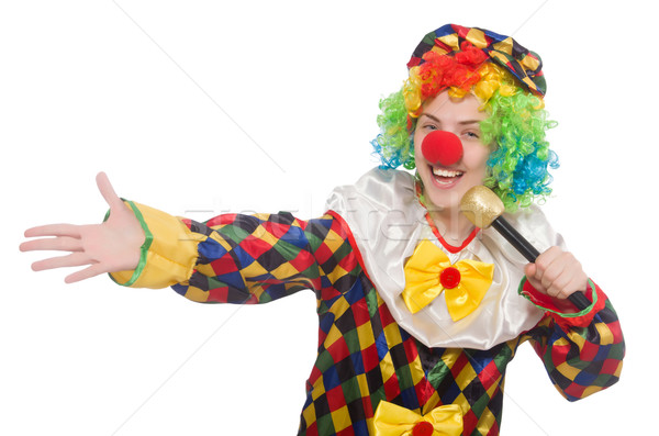 Clown with mic isolated on white background Stock photo © Elnur