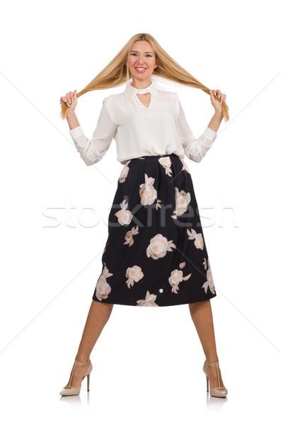 довольно девушки черный юбка цветы изолированный Сток-фото © Elnur