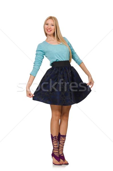 Szőke haj lány sötét kék szoknya Stock fotó © Elnur