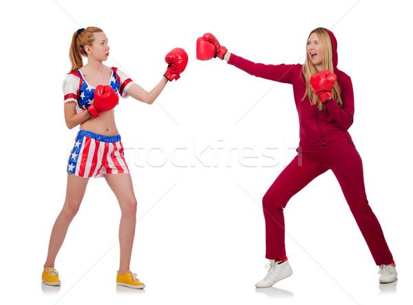 Stok fotoğraf: Iki · kızlar · boks · yalıtılmış · beyaz · kız