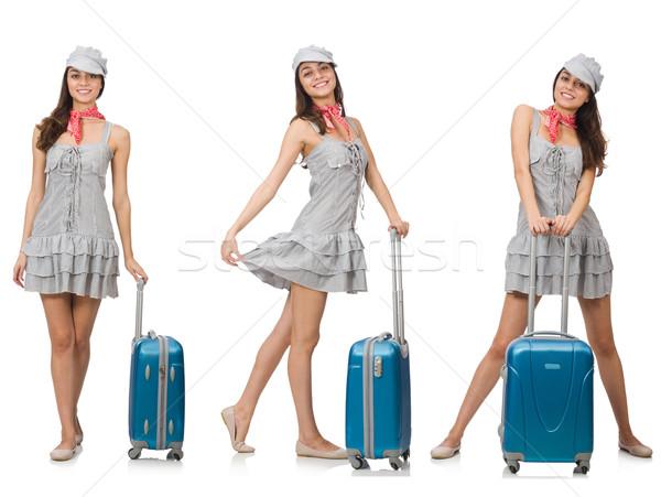 женщину чемодан изолированный белый бизнеса Сток-фото © Elnur
