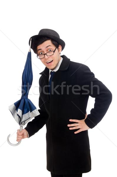 Fiatalember esernyő izolált fehér mosoly háttér Stock fotó © Elnur