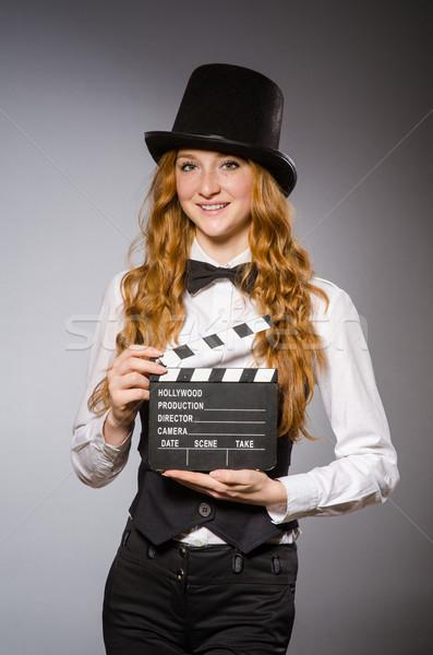 Stockfoto: Mooie · meisje · retro · hoed · geïsoleerd
