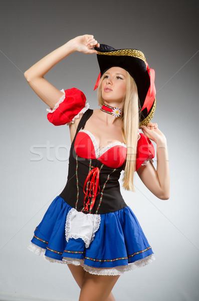 Kobieta pirackich szary czarny retro hat Zdjęcia stock © Elnur