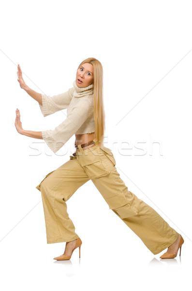 Mulher bonita bege calças isolado branco menina Foto stock © Elnur