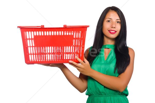 Nő bevásárlókosár izolált fehér boldog vásárlás Stock fotó © Elnur