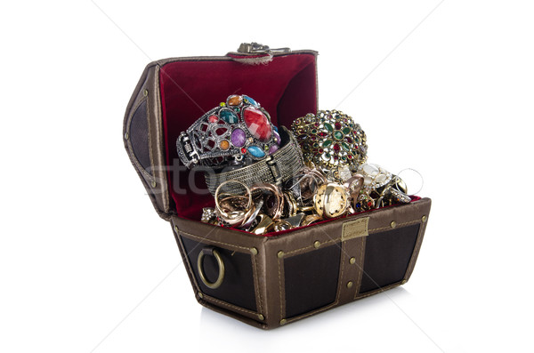 Chest with lots of jewellery isolated on white Stock photo © Elnur