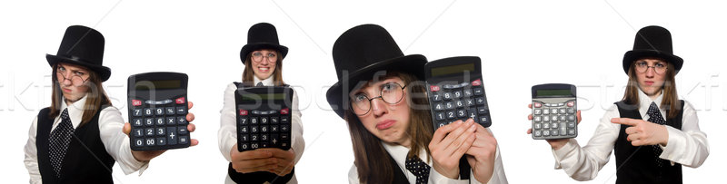 Funny woman with calculator isolated on white Stock photo © Elnur