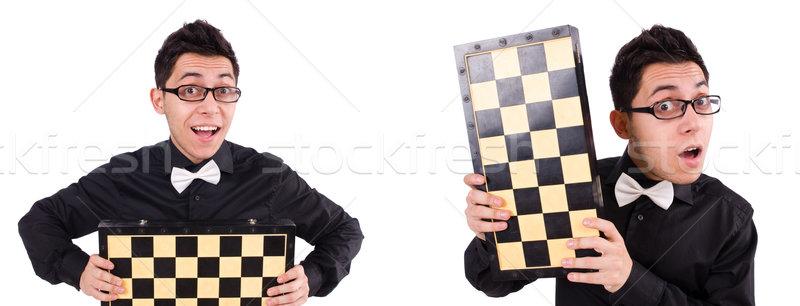 Funny szachy gracz odizolowany biały sukces Zdjęcia stock © Elnur