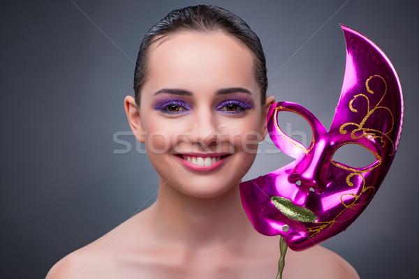 Genç kadın karnaval maske arka plan tiyatro tiyatro Stok fotoğraf © Elnur