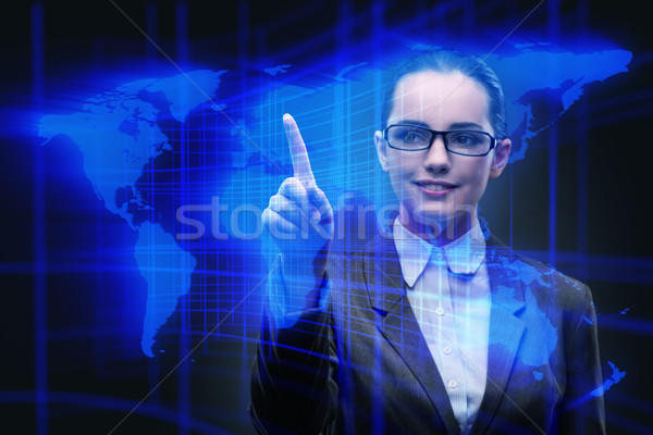 Zakenvrouw wereldwijde business vrouw wereld aarde ruimte Stockfoto © Elnur