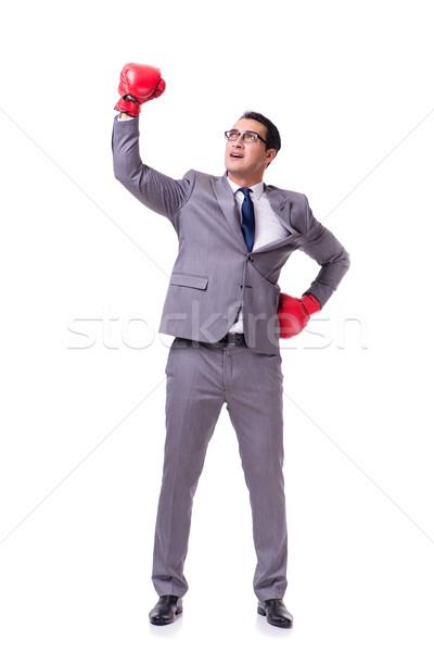 Businessman boxing isolated on the white background Stock photo © Elnur