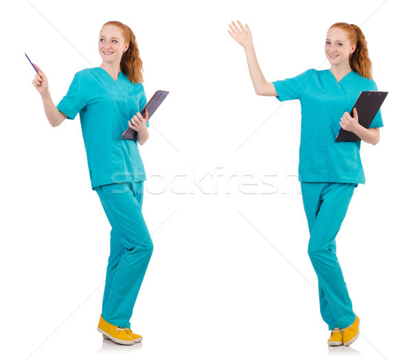The careful nurse isolated on white Stock photo © Elnur