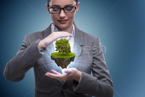 Businesswoman holding floating island with tree Stock photo © Elnur