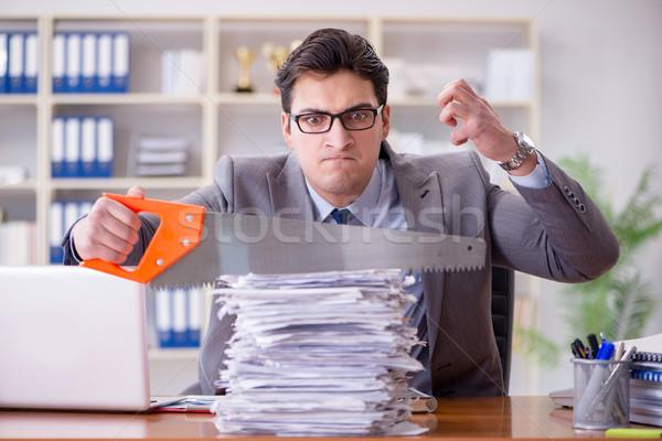 Zły agresywny biznesmen biuro pracy biurko Zdjęcia stock © Elnur