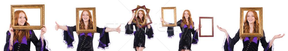 Mujer marco de imagen blanco madera feliz moda Foto stock © Elnur