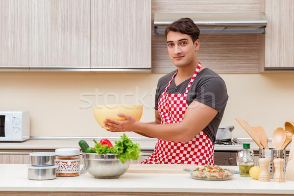 Man mannelijke kok keuken gelukkig Stockfoto © Elnur