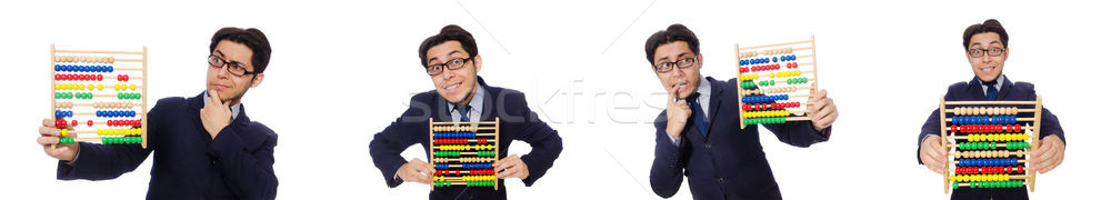 Funny businessman with abacus isolated on the white Stock photo © Elnur