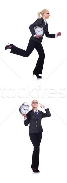 Foto stock: Mulher · gigante · relógio · branco · negócio · escritório