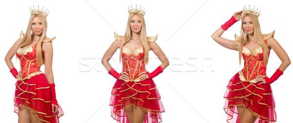 Vrouw rode jurk geïsoleerd witte achtergrond pak Stockfoto © Elnur