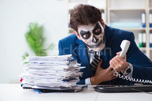 Scary twarz maska pracy biuro biznesmen Zdjęcia stock © Elnur