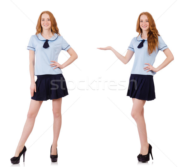 Young naughty student female isolated on white Stock photo © Elnur