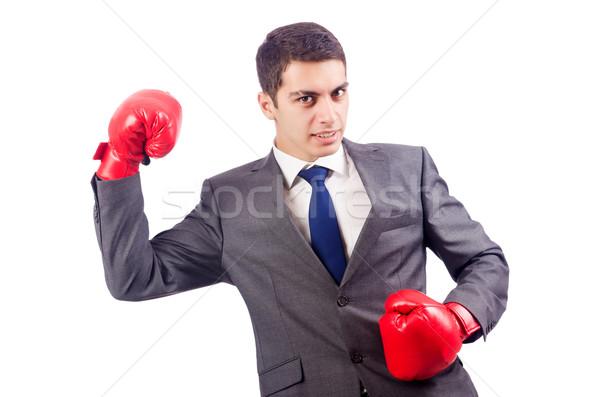 Zakenman bokshandschoenen witte business sport achtergrond Stockfoto © Elnur