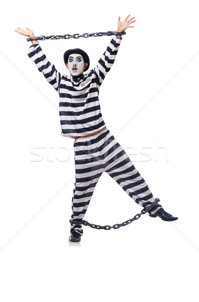 Funny man with facemask mask with shackles on white Stock photo © Elnur