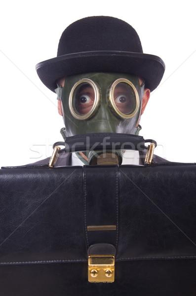 Zakenman gasmasker geïsoleerd witte gezicht Stockfoto © Elnur