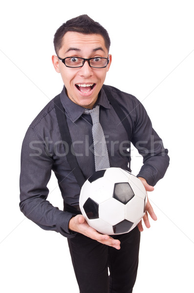 Funny man with football isolated on white Stock photo © Elnur