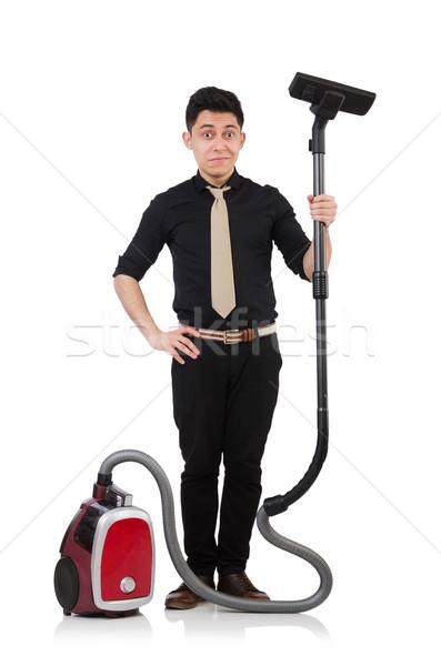 Stockfoto: Man · stofzuiger · geïsoleerd · blanke · man · witte · business