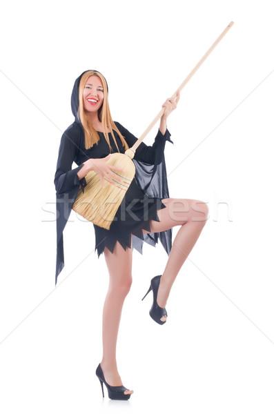 Vrouw bezem witte haren home achtergrond Stockfoto © Elnur