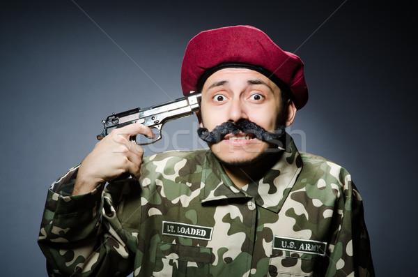 смешные солдата темно фон безопасности пушки Сток-фото © Elnur