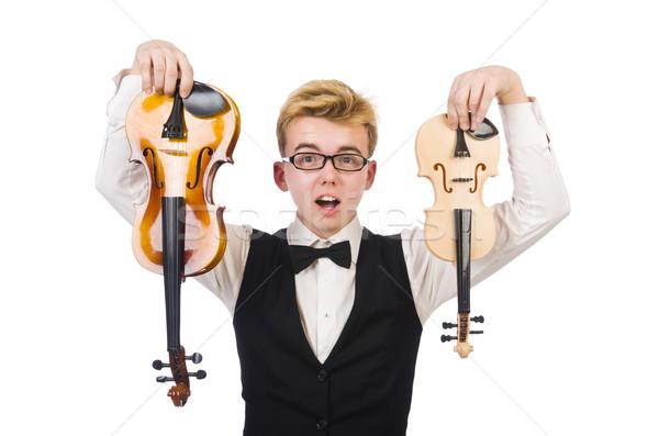 Drôle homme violon blanche sonores Homme Photo stock © Elnur