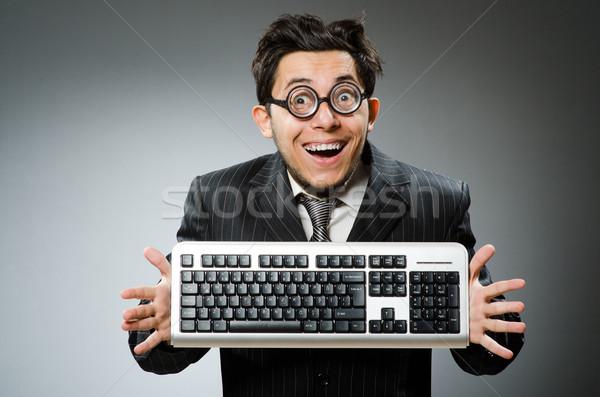 Geek бизнеса компьютер лице ноутбука Сток-фото © Elnur