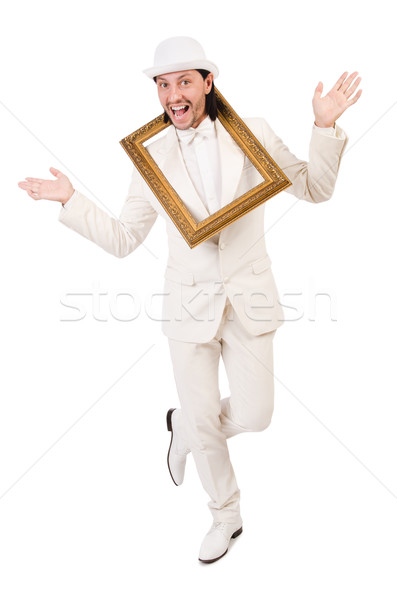 человека белый костюм фоторамка моде работу Сток-фото © Elnur