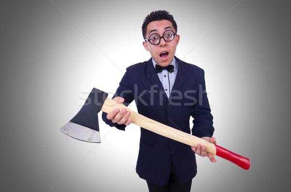 Funny hombre hacha blanco negocios oficina Foto stock © Elnur