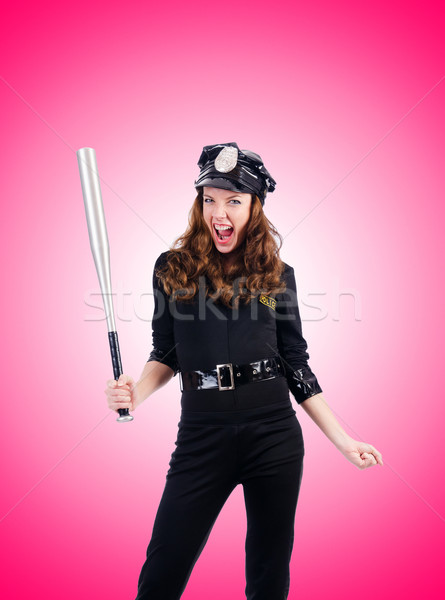 Polis bat yalıtılmış beyaz kadın model Stok fotoğraf © Elnur