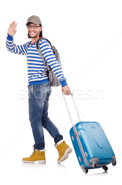 A tourist with bags isolated on white Stock photo © Elnur
